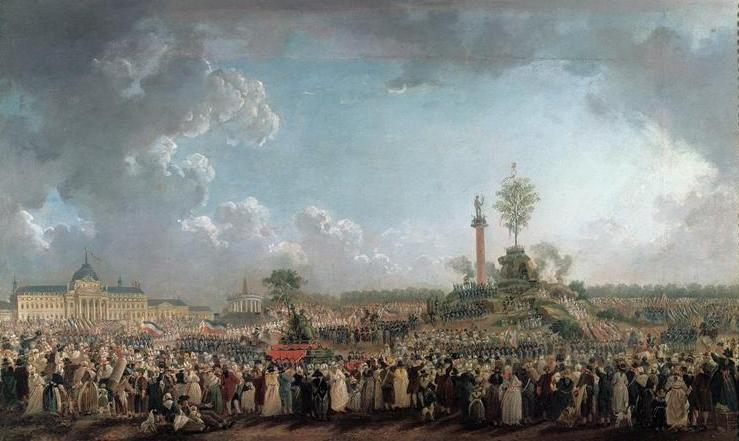 Pierre-Antoine Demachy, La Fête de l'Etre suprême au Champ-de-Mars (20 prairial, an II – 8 juin 1794), ca. 1794, huile sur toile, 53 x 88 cm, Paris, musée Carnavalet.